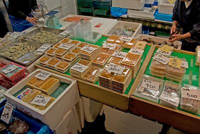 Packaged product on display at Tsukiji Fish Market, Tokyo, Japan