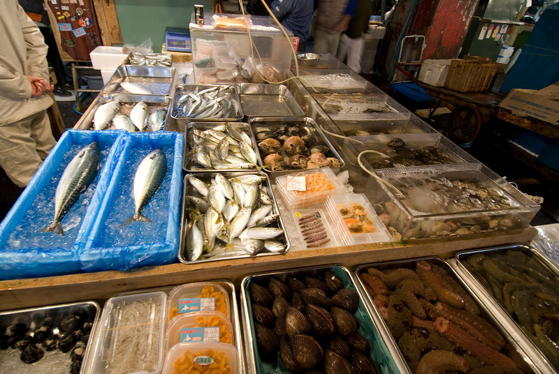 Different kinds of seafood sold at Tsukiji Fish Market, Tokyo, Japan
