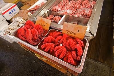 Red Octopus at Tsukiji Fish Market, Tokyo, Japan