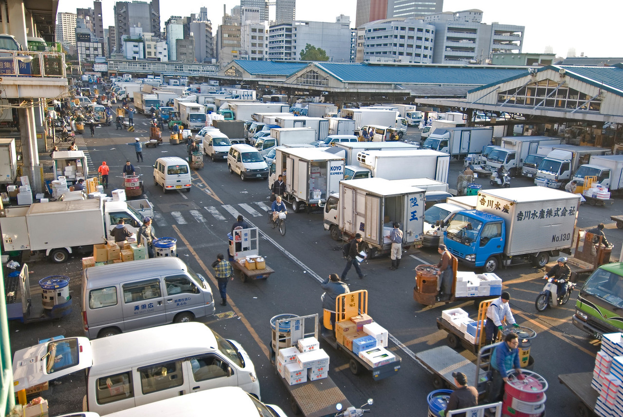 Busy parking lot in Tsukiji Fish Market, Tokyo, Japan