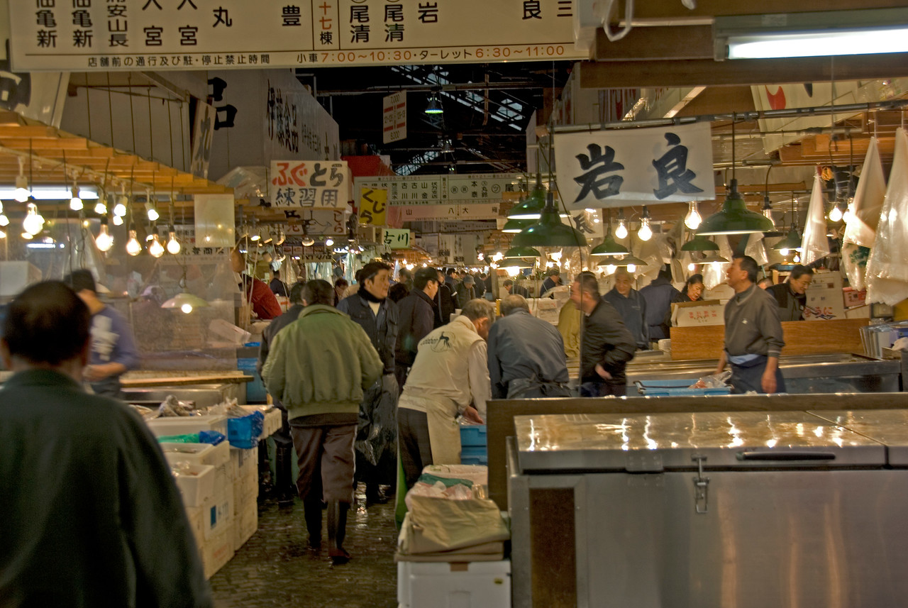 Buyers and vendors flocking the Tsukiji Fish Market, Tokyo, Japan