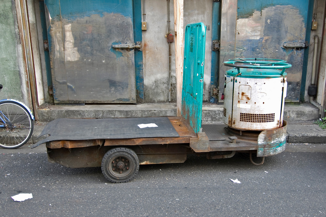 Motorized cart for transporting goods at Tsukiji Fish Market, Tokyo, Japan