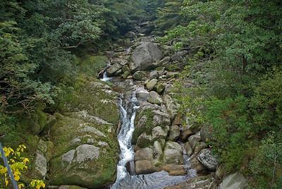 Water flowing in a rock-filled creek in Shiratani Unsuikyo, Japan