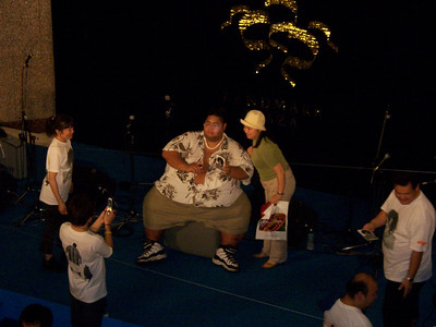 A famous Sumo wrestler (2005) visiting a hotel in Yokohama, but I have forgotten his name.. 2005, Yokohama Port and Park area