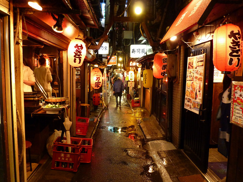 The lantarns identify the venues as izikayas (cheap food and sake) in Omoide Yokocho, informally referred to as Piss Alley, in the Shinjuku neighborhood.
