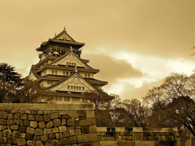 Osaka Castle is the centerpiece of Osaka, Japan.  In 1583, it took 100,000 workers three years to complete construction.  Due to conquests, this castle has been destroyed and rebuilt several times since then.