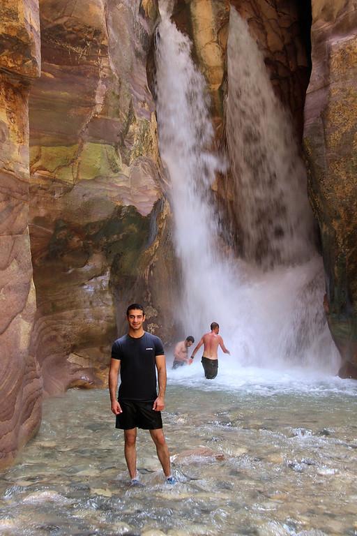 Waleed at the waterfall - Wadi Mujib