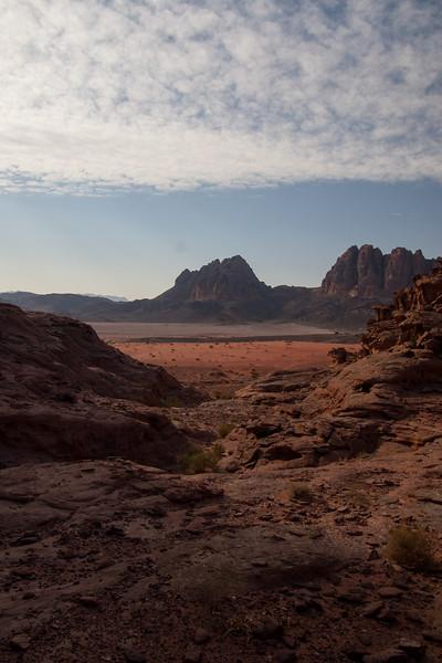 Camping in Wadi Rum, the sun begins to settle.  Jordan