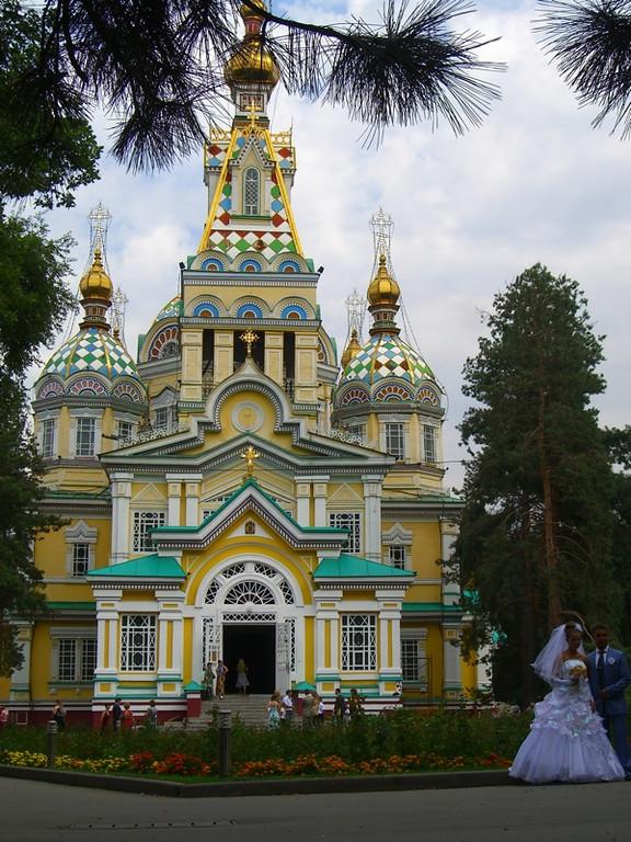 Bride and Zenkov Church - Almaty, Kazakhstan