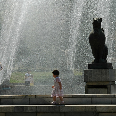 Girl Playing in Fountains - Almaty, Kazakhstan