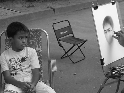 Kyrgyz Boy, Portrait Sketch - Almaty, Kazakhstan
