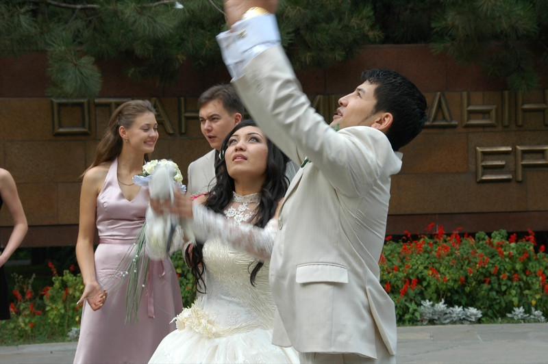 Kazakh Wedding, Setting Doves Free - Almaty, Kazakhstan