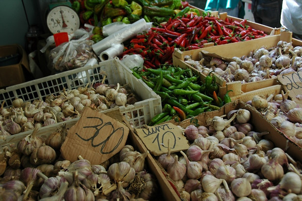 Garlic and Peppers at Zalyony Bazaar - Almaty, Kazakhstan