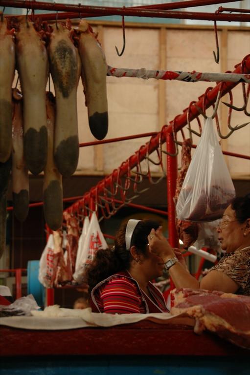 Cow Tongues at Eyebrow Grooming at Market - Almaty, Kazakhstan