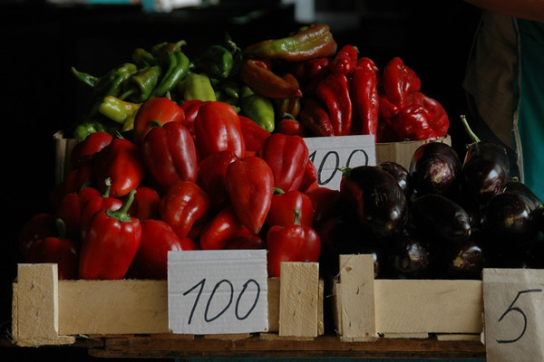 Red Peppers and Eggplants - Almaty, Kazakhstan