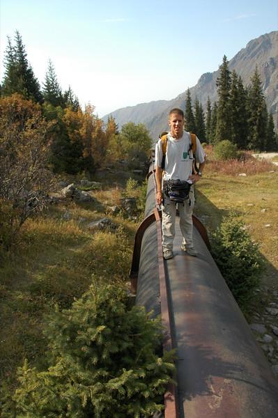 Dan Walks on Pipe to Big Almaty Lake - Almaty, Kazakhstan