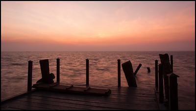 Sunset over Vembanad lake at the Zuri hotel, Kumarakom