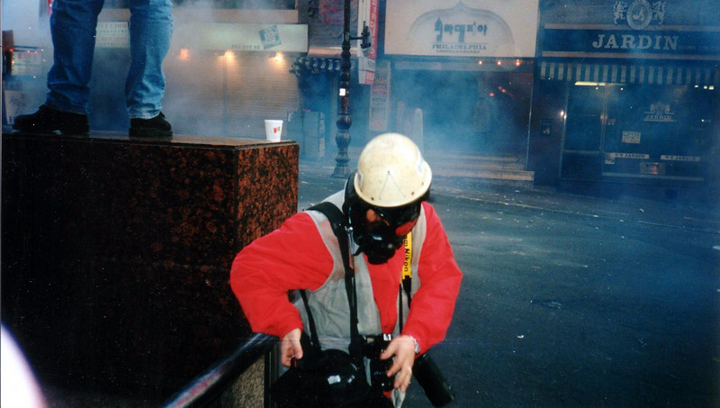 Tear Gas, couldn't hang around long,had to run into the Hotel to wash my eyes, as did many others 1994, Seoul