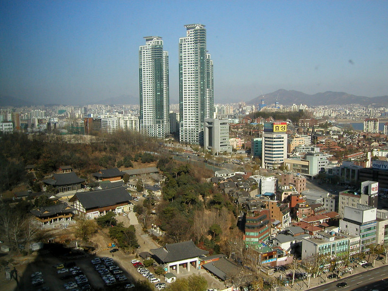 Seoul 2004 looking towards the Temple complex and further on the Han River from the COEX Intercontinental Hotel