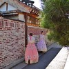 Girls Wearing Traditional Hanbok Clothing in Bukchon Neighborhood