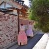 Girls Wearing Traditional Hanbok Clothing in Bukchon Neighborhood