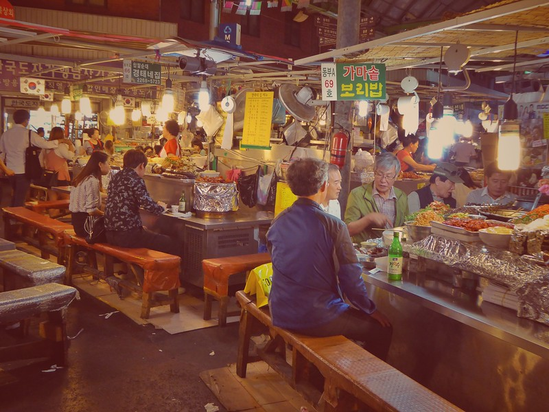 Evening Food Stalls at Gwangjang Market in Seoul