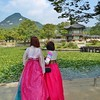 Women Wearing Traditional Hanbok at Gyeongbokgung Palace