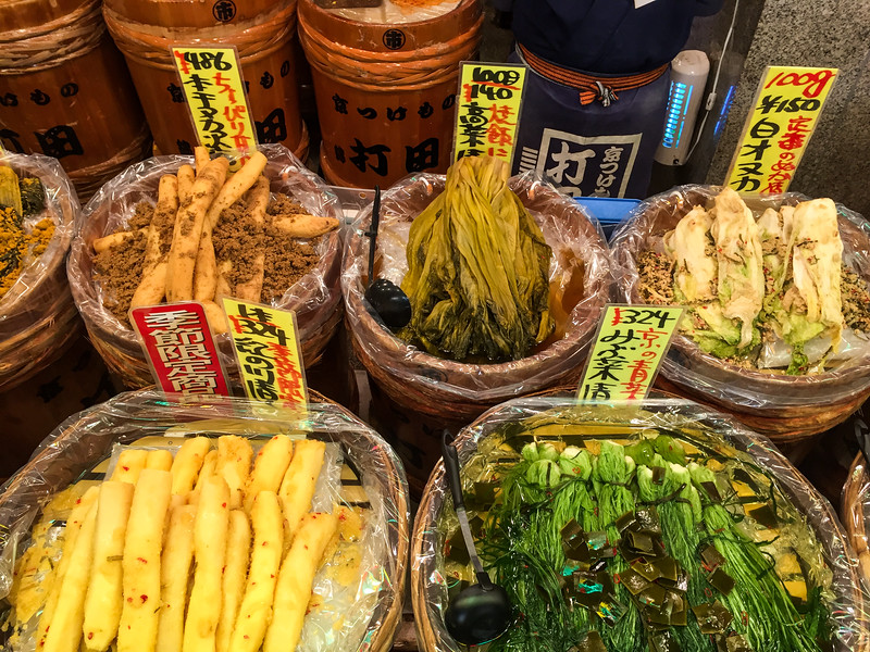 Pickled vegetables at Nishiki Market, Kyoto, Japan