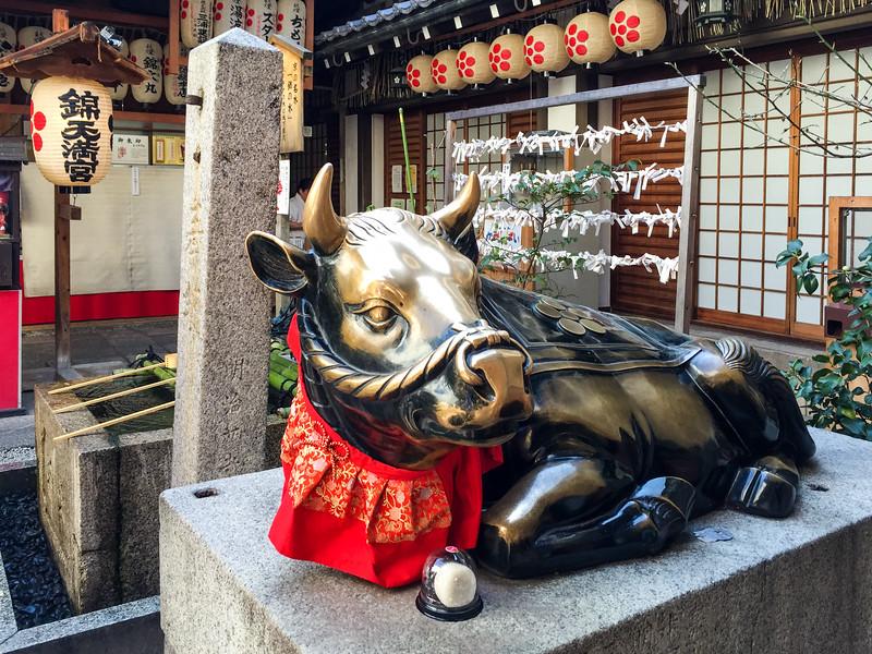 The lucky cow at Nishiki Tenmagu Shrine, Nishiki Market, Kyoto