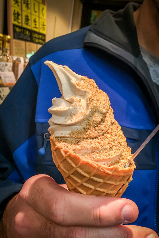 Sesame ice cream at Nishiki food market in Kyoto, Japan