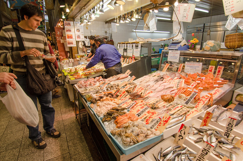 Fish vendor at Nishiki, Kyoto's best food market