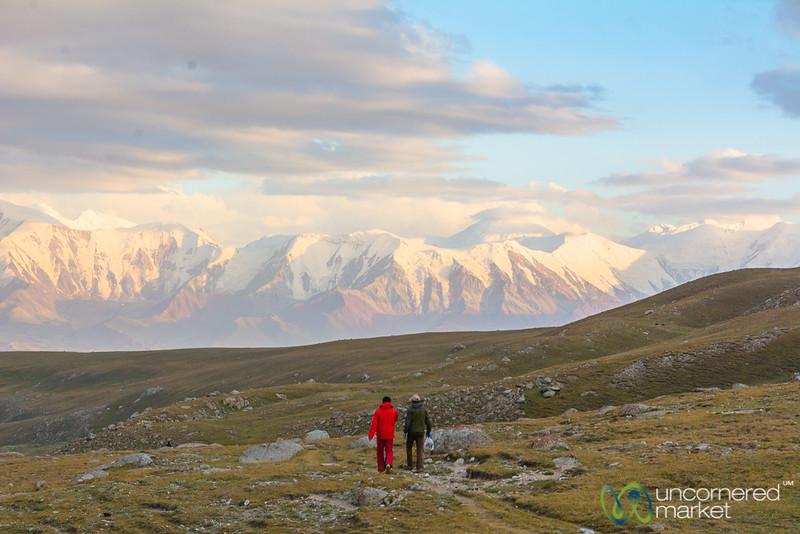 Walking Down, View of the Pamir Mountains - Koshkol Lakes Trek, Alay Mountains, Kyrgyzstan