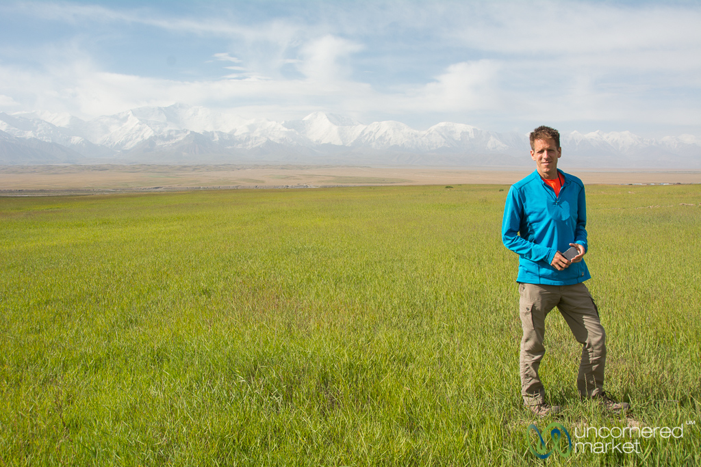 Dan in Front of the Pamir Mountains - Kyrgyzstan