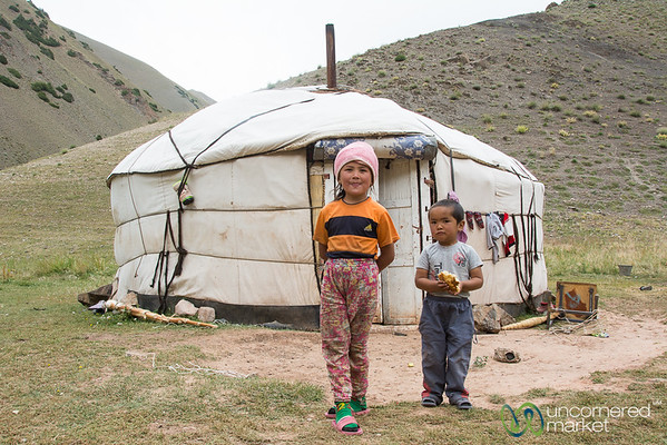 Kyrgyz Children in Front of a Yurt - Alay Mountains, Kyrgyzstan