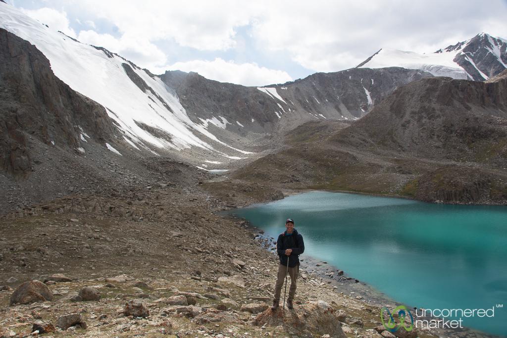 Dan at Alpine Lake and Glaciers - Alay Mountains