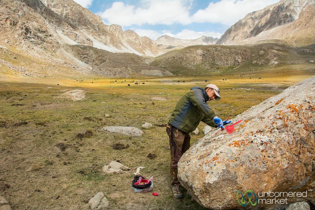 Marking the Trail, Koshkol Lakes Trek - Alay Mountains, Kyrgyzstan