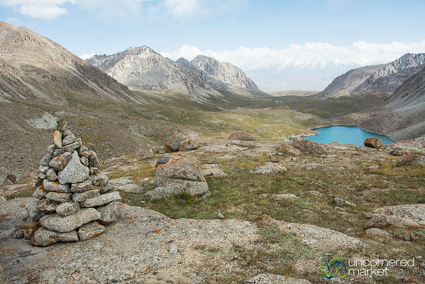 Looking Down from the Mountain Pass - Koshkol Lakes Trek, Alay Mountains, Kyrgyzstan