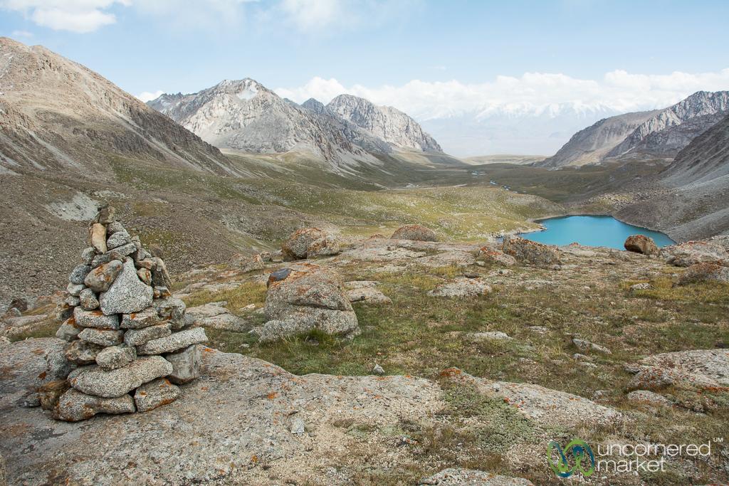 Looking Down from the Mountain Pass - Koshkol Lakes Trek, Alay Mountains, Kyrgyzstan