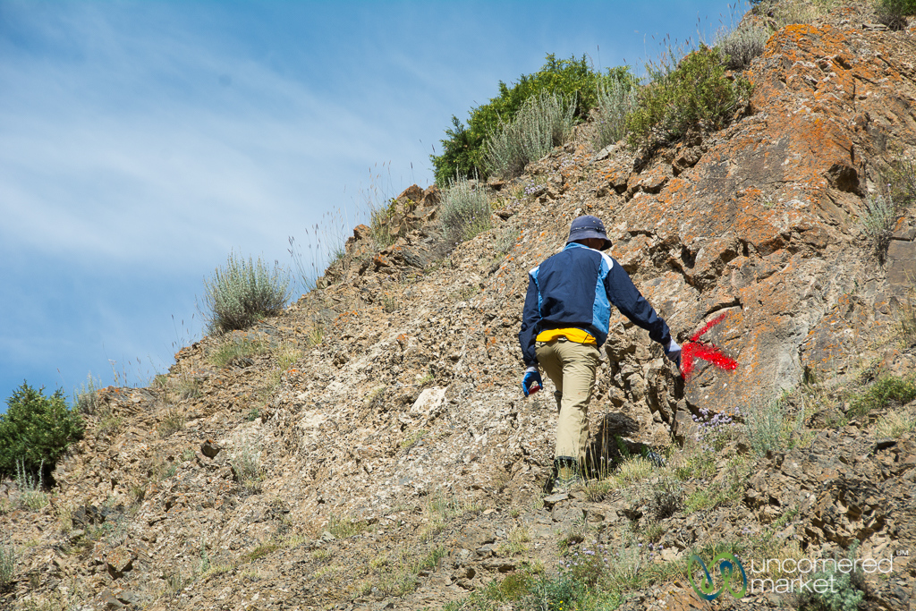 Trail Marking in the Alay Mountains, Kyrgyzstan