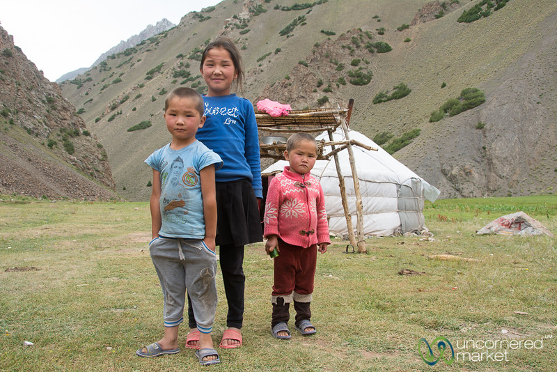Kids in Front of the Yurt - Alay Mountains, Kyrgyzstan