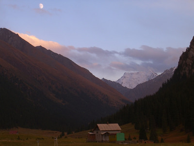 Hot Springs and Moon - Altyn Karashan, Kyrgyzstan