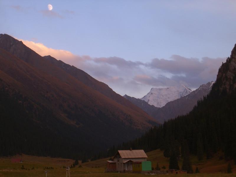 Hot Springs and Moon - Altyn Karashan, Kyrgyzstan