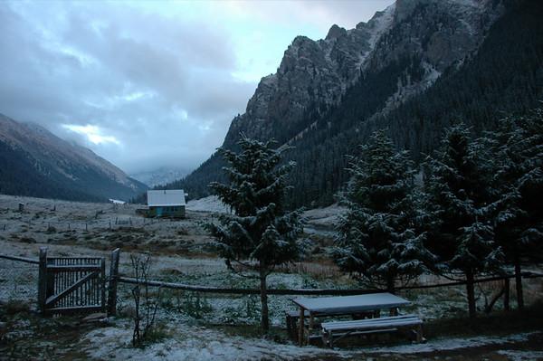Morning Snowfall at Altyn Arashan, Kyrgyzstan