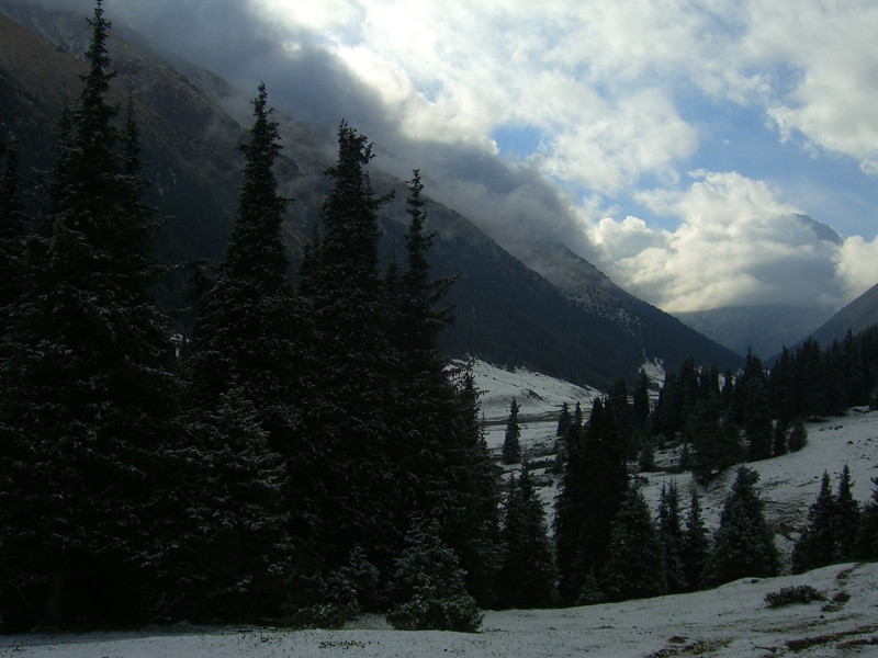 Snow on the Hike to Ala Kul Lake, Kyrgyzstan