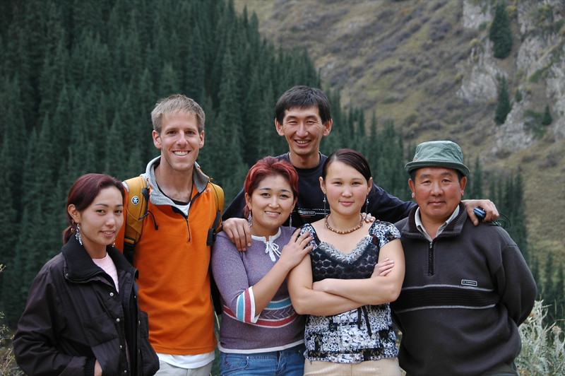Dan and Kyrgyz Visitors - Altyn Arashan, Kyrgyzstan