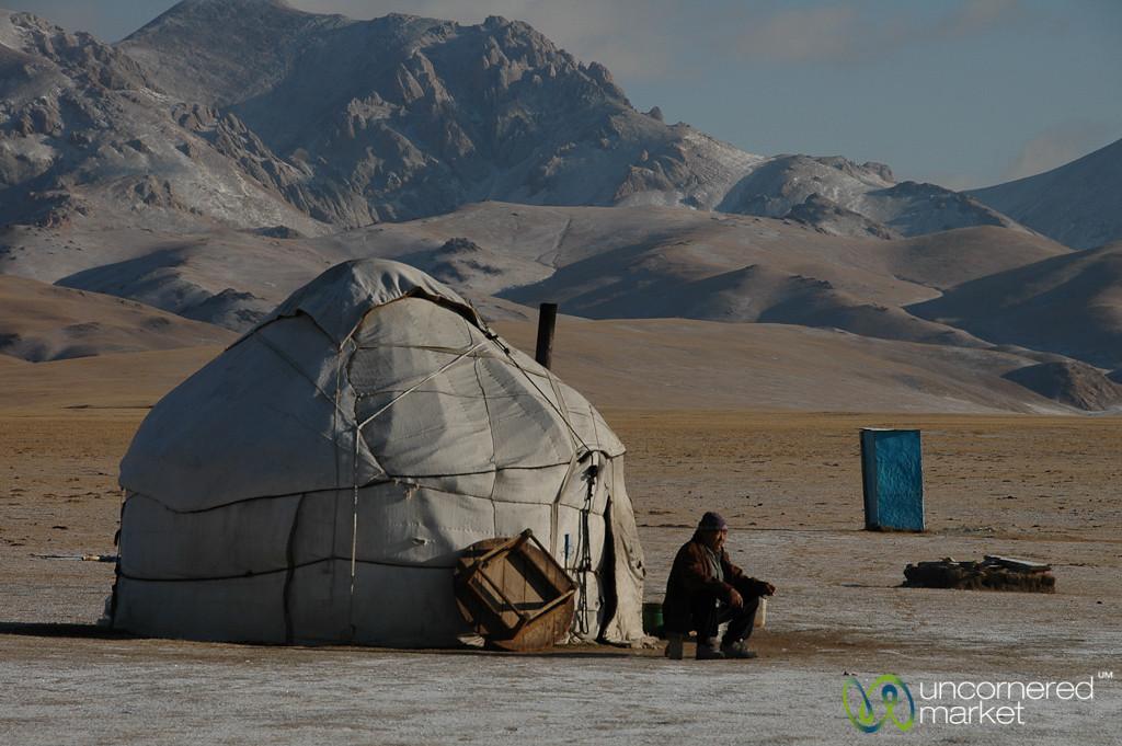 Kyrgyz Man Drinks Tea Outside Yurt - Song Kul Lake, Kyrgyzstan
