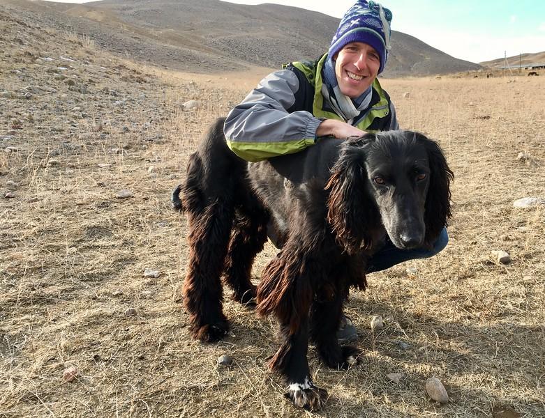 Dan and a Taigan, Kyrgyz Hunting Dog - Southern Shore, Kyrgyzstan