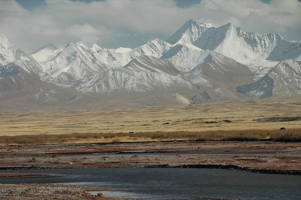 Watering Hole, Snow-Capped Mountains - Sary Tash, Kyrgyzstan