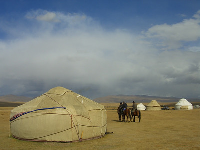 Yurts Along Song Kul Lake, Kyrgyzstan