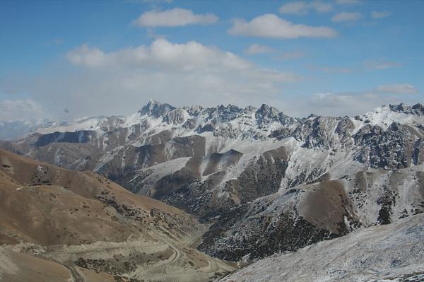 Fresh Snowfall on Mountains - Osh to Sary Tash, Kyrgyzstan